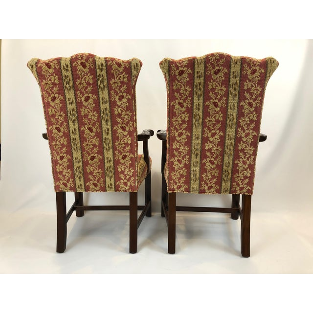 Carved Mahogany and Chenille Upholstered Armchairs - a Pair For Sale - Image 9 of 13