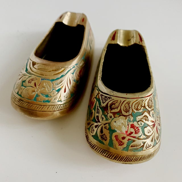 Boho Chic Vintage Ca 1960s Indian Mini Shoe Shape Ashtray - 2 Pieces For Sale - Image 3 of 12