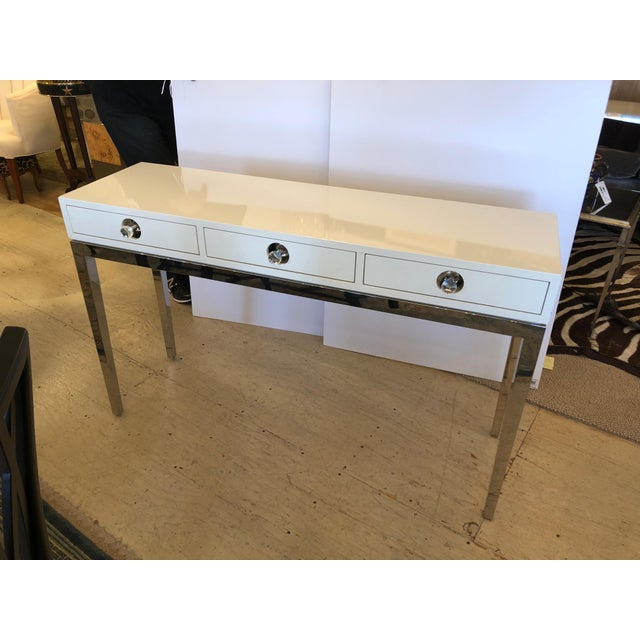 Contemporary Jonathan Adler White Lacquer and Chrome Console For Sale - Image 11 of 12