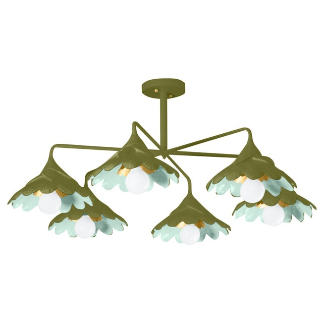 Contemporary Stray Dog Designs for Chairish John O Ceiling Light, Olive and Light Blue For Sale - Image 3 of 3