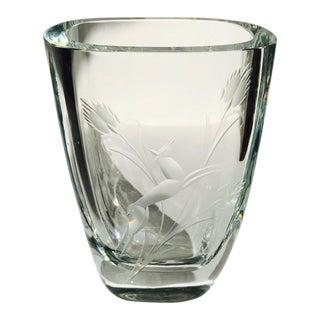 Art Deco Etched Crystal Glass Vase, Sweden 1930's For Sale