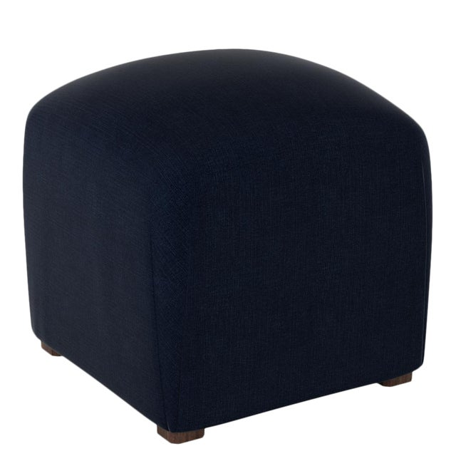 Not Yet Made - Made To Order Linen Navy Cube Ottoman For Sale - Image 5 of 6