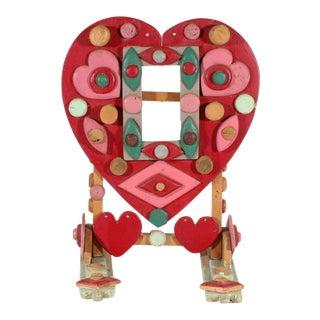 Vintage Folk Art Heart Wooden Frame For Sale