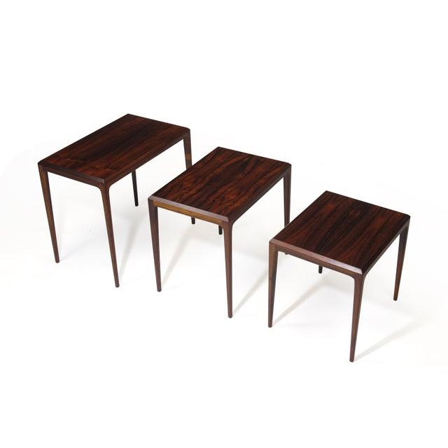 Rosewood Johannes Andersen for Cf Christensen of Silkeborg Nesting Tables For Sale In San Francisco - Image 6 of 11