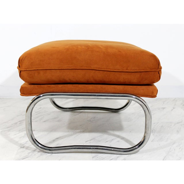 Mid-Century Modern Pair of Tubular Chrome Lounge Chairs and Ottoman For Sale - Image 10 of 11