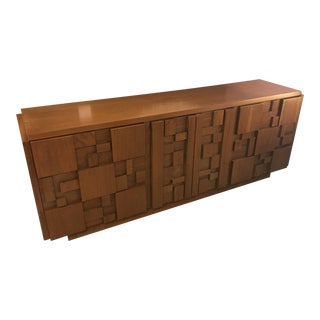 Paul Evans Styled, 1960's Brutalist Walnut Credenza, by Lane For Sale
