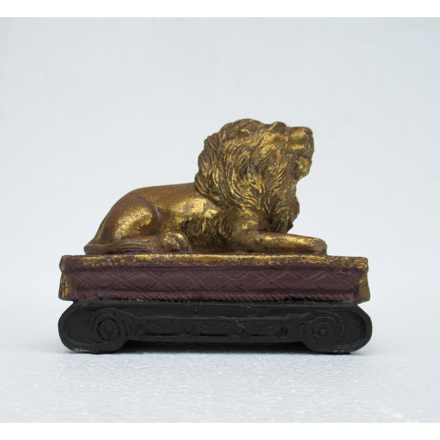 C.1980s Gilt Carved Lion Accent Piece / Paperweight on Attached Pedestal Scroll Base For Sale - Image 4 of 13