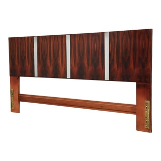 Rosewood & Chrome King Headboard For Sale