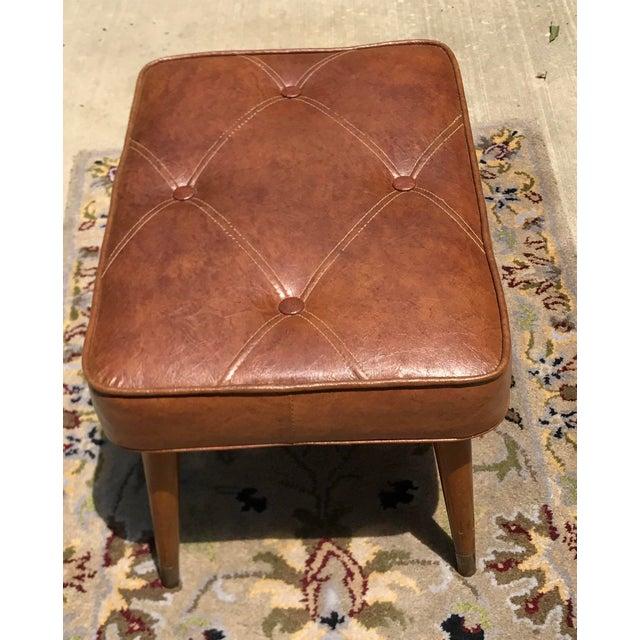 Mid-Century Brown Naugahyde Hassock Footstool - Image 4 of 11
