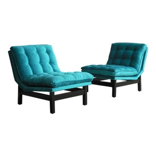 Interesting Pair of Mid-Century Lounge Chairs For Sale
