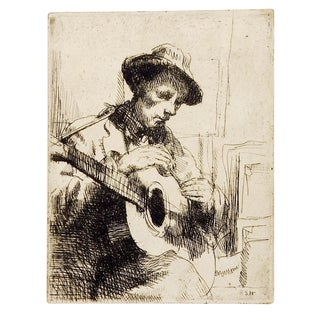 Guitar Player Etching by Rosa Hope For Sale
