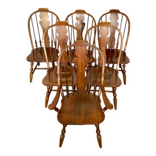 Vintage Virginia House Farmhouse Windsor Dining Chairs - Set of 6 For Sale