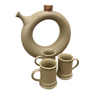 Mid-Century Hartstone Pottery Bisque Ceramic Decanter Wine Chiller and Espresso Cups - 4 Piece Set For Sale