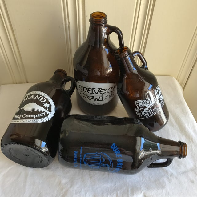 Retro Brown Glass Brewery Jugs - Set of Four For Sale In Los Angeles - Image 6 of 10