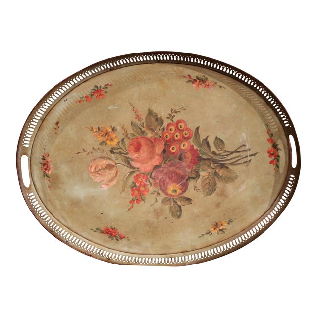 19th Century French Hand-Painted Oval Gallery Tole Tray With Flowers and Foliage For Sale