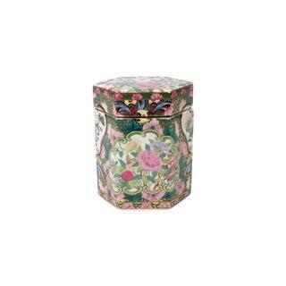 Asian Rose Medallion Porcelain Hexagonal Box For Sale