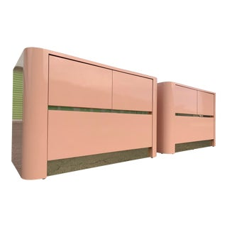 1980s Pink Laminate and Brass Nightstands - a Pair For Sale