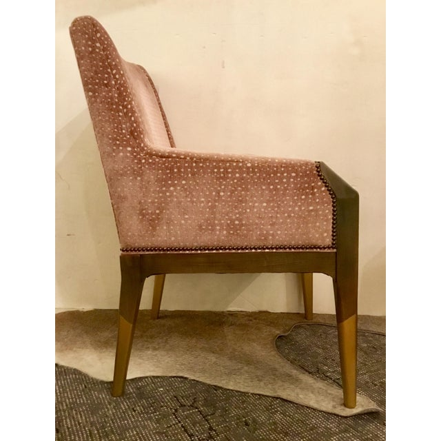 Stylish transitional Hickory Co. Tate arm chair after the style of Gio Ponti, blush cut velvet upholstery on a rich taupe...