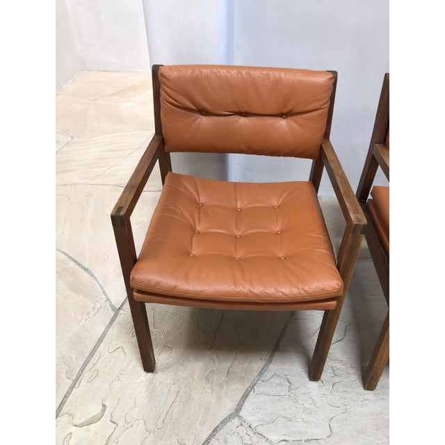 Mid Century Modern Leather Chairs- a Pair For Sale In Santa Fe - Image 6 of 9