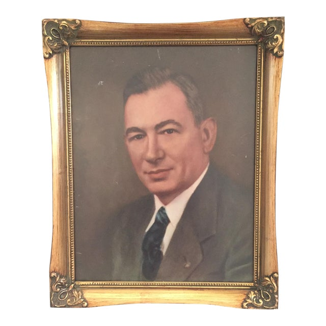 Vintage Framed Portrait Painting of Business Man - Image 1 of 11
