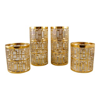 22k Imperial Glass 2 Shoji Old Fashion and 2 Shoji Tall Drinking Glasses For Sale