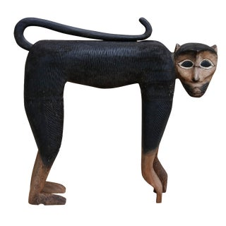 Carved Bonnet Macaque Monkey Sculpture For Sale