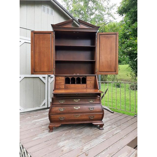 Metal Vintage Drexel Wallace Nutting Bombe Kettle Base Blind Door Secretary Desk For Sale - Image 7 of 13