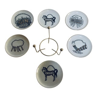 1950s Fornasetti Vini E Liquori Coasters - Set of 6 For Sale