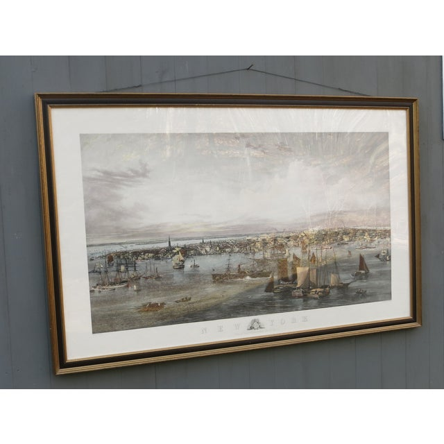 """New York Harbor print. Reprint of 19th century painting by JW Hill and engraved by C. Mottram. It is 62"""" x 40"""" and 2""""..."""