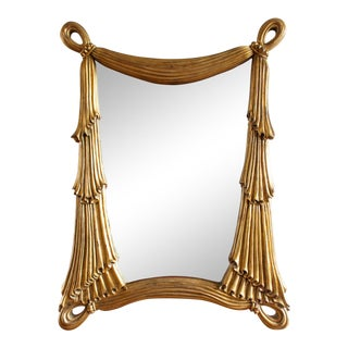 1960s Hollywood Regency Gilt Draped Swag Large Wall Mirror For Sale