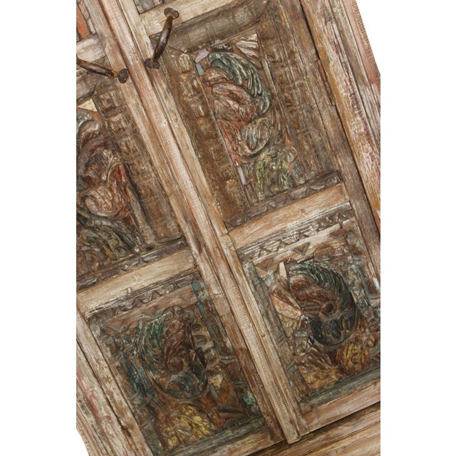 1920s Antique Haveli Carved Rustic Armoire For Sale - Image 5 of 9