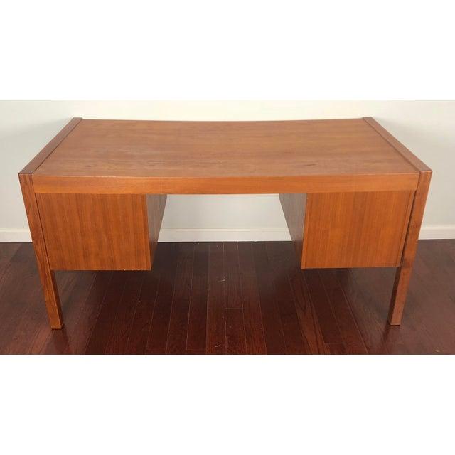 Bent Silberg Mobler 1960s Mid Century Modern Bent Silberg Teak Tanker Desk For Sale - Image 4 of 12