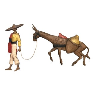1960s Southwestern Metal Wall Art of Man and Donkey