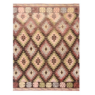 Vintage Mid-Century Green and Purple Wool Kilim Rug With Blue and Pink Accents For Sale