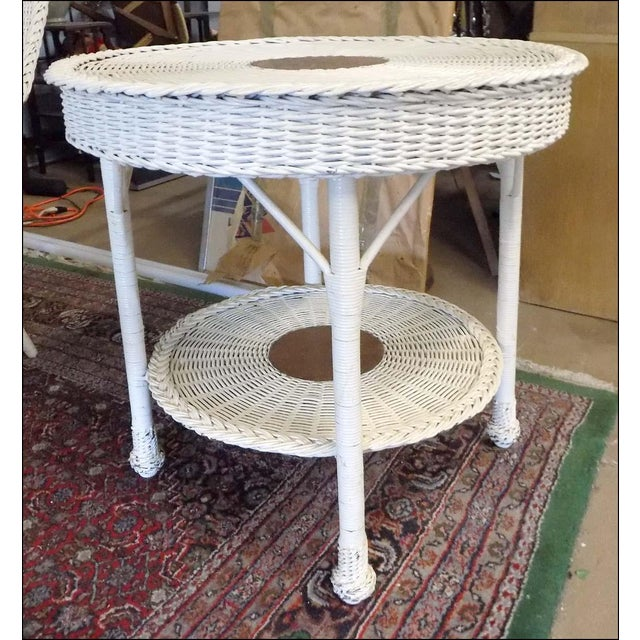 Wicker Vintage White Wicker Round Table For Sale - Image 7 of 7