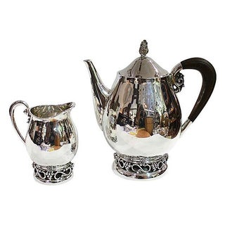Sterling SIlver Teapot & Creamer For Sale