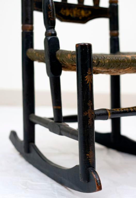 Fine Early 18th Century Black Painted Banister Back Rocking Chair