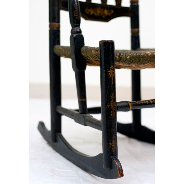 Traditional Early 18th Century Black Painted Banister Back Rocking Chair For Sale - Image 3 of 7