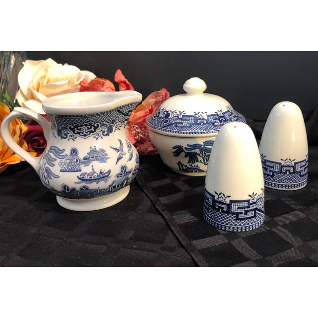This is for a set that includes 1- sugar bowl with the lid 1- creamer 1- salt shaker 1- pepper shaker They are in the Blue...