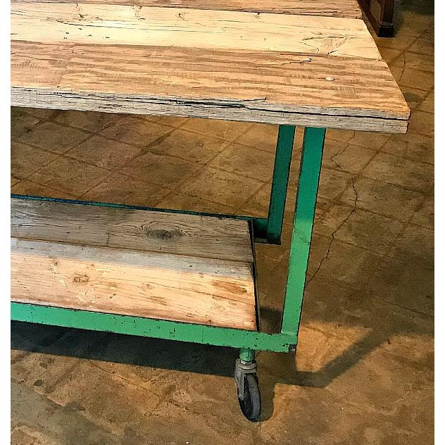 Mid 20th Century Mid-Century Modern Two-Tiered Metal Wheeled Cart For Sale - Image 5 of 7