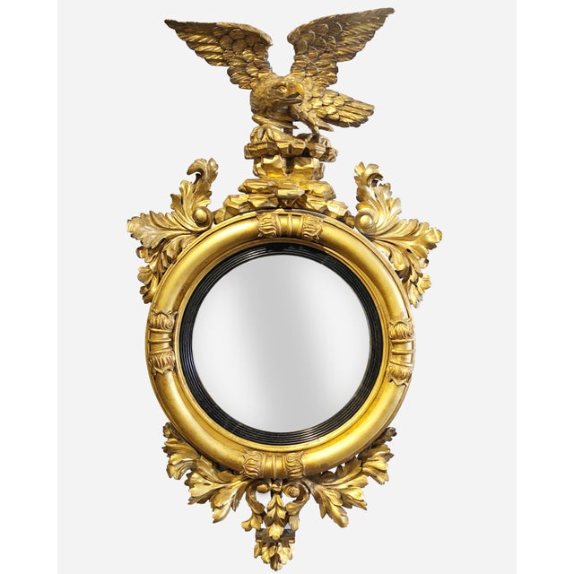 Late 18th Century Federal Era Gilt and Ebonized Convex Mirror For Sale - Image 4 of 4