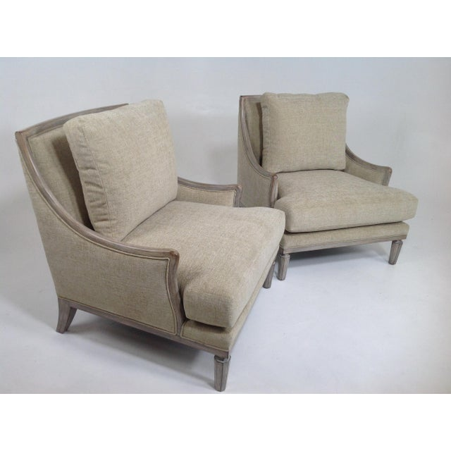 Chenille Ceruse Gray Lounge Chairs - A Pair For Sale - Image 5 of 9
