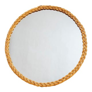 1970s Boho Chic Round Braided Wicker Wall Mirror - 36""