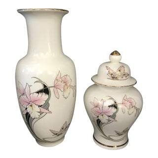 Japanese Hand Painted Floral Vase and Ginger Jar For Sale