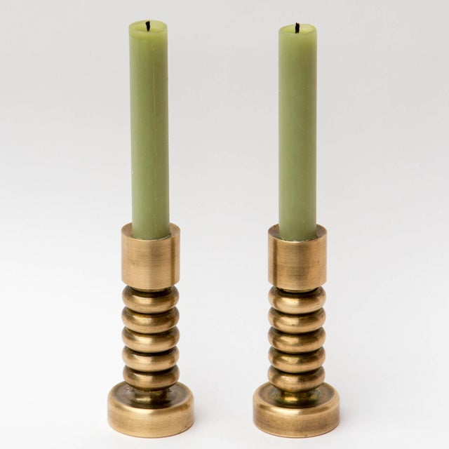 Brass Danish Modern Candlesticks, a Pair For Sale In Milwaukee - Image 6 of 7