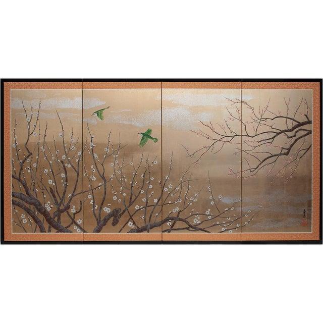 1970s Gold Leaf and Silk Japanese Shōwa Era Byobu Screen With Green Birds and Sakura For Sale - Image 11 of 12