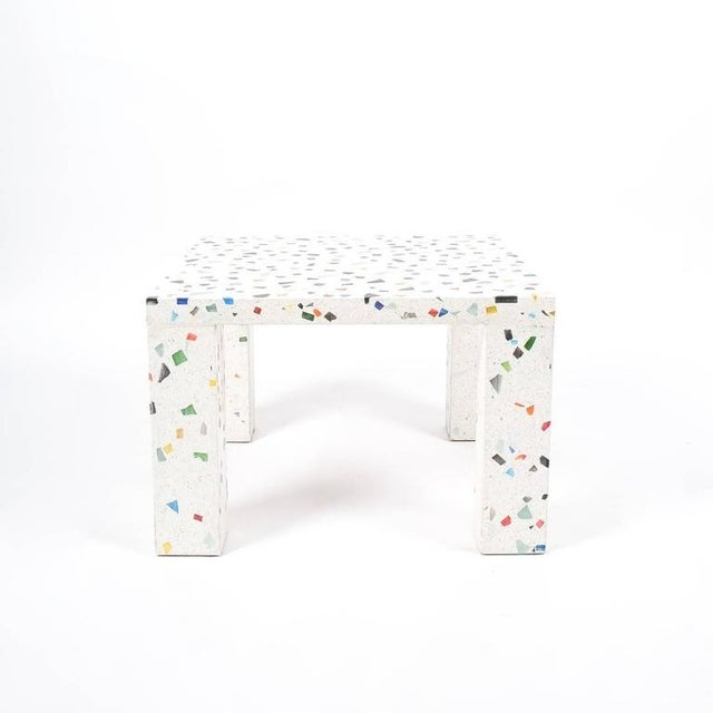 Postmodern iconic terrazzo table by Shiro Kuramata for Memphis, 1983. Very heavy solid square table made from colored...