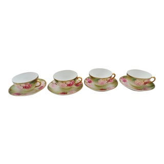 Late 20th Century Thomas Bavaria Signed Green with Rose Tea Cups & Saucers - Set of 4 For Sale
