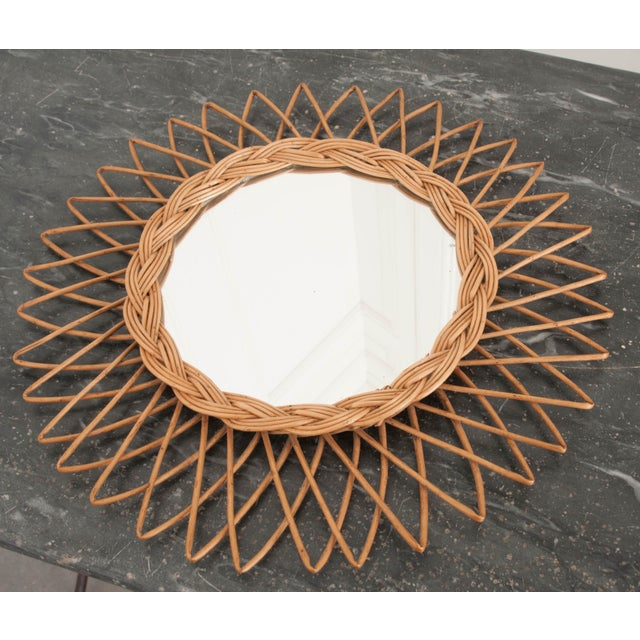 Wood English Vintage Rattan Sunburst Mirror For Sale - Image 7 of 9