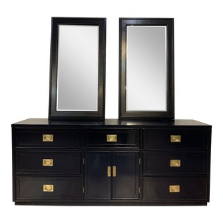 1960s Vintage Campaign Style Refinished Dresser WIth Two Mirrors For Sale